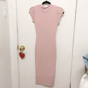 😍 Beautiful Pink Fitted Stretchy Sexy S/L Dress M